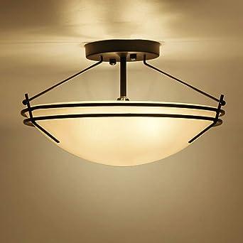 Retro Vintage Luz de techo industrial Lámpara de vidrio de ...