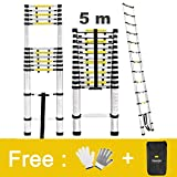Finether 5M Portable Aluminium Telescoping Ladder with Finger Protection Spacers for Home Loft Office, EN131 Certified, 330 Lb Capacity