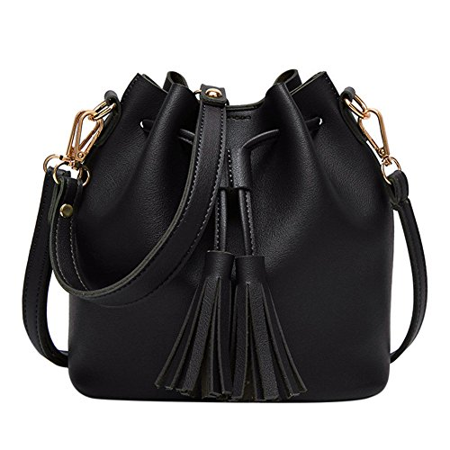 Women Drawstring Bucket Bag Small Crossbody Shoulder Bag Tote Handbag with Tassel by C.C-US