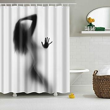 Shower Curtains,BIOSTON Sexy Women Shadow Digital Art Printing Anti  Bacterial Waterproof Polyester Fabric Shower