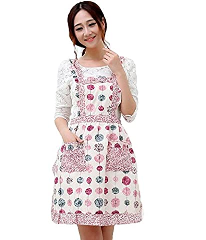 Newly Pastoral Style Fashion Flower Pattern Housewife Home Chef Cooking Cotton Apron Bib with Pockets 2# Mother's Day Gift Hyzrz