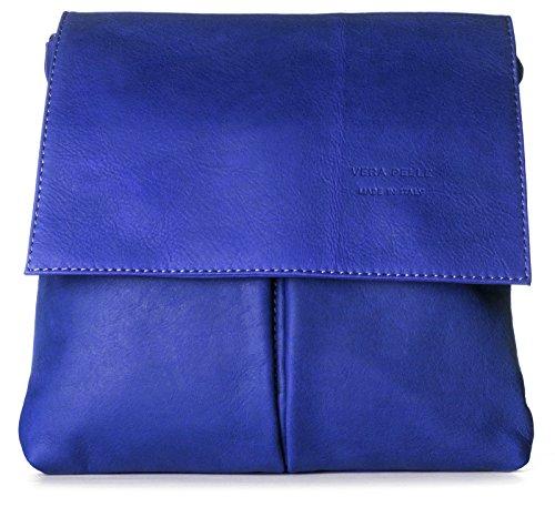 Big Handbag Shop - Bolso al hombro de cuero para hombre One Electric Blue
