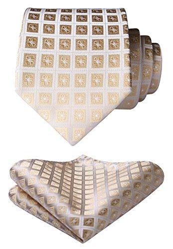 HISDERN Plaid Checkered Polka Dots Tie Handkerchief Woven Classic Gingham Men's Necktie & Pocket Square Set
