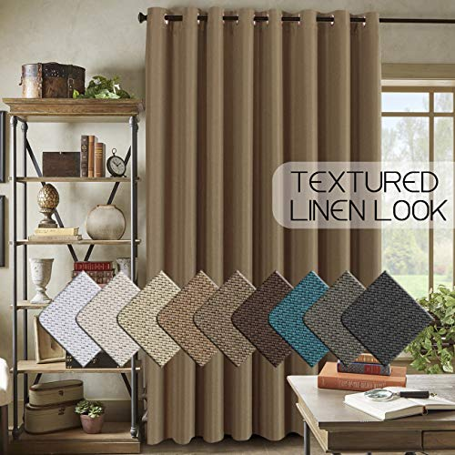 Christmas Season Linen Curtains Blackout for Bedroom (100 by 84 Inch) Room Darkening Linen Curtain for Patio Door, Primitive Linen Curtain for Room Divider (7ft Tall by 8.5ft Wide, Prairie Sand)