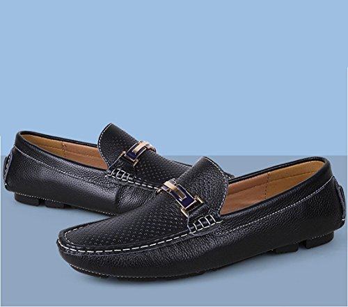 Loafers SK Uomo da Cavo Scarpe Guida da On Casuale Pelle Nero Studio Scarpe di Con Slip Mocassini Eleganti Barca r8XqASrx