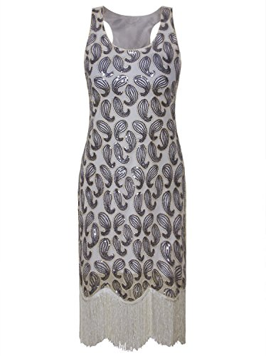 Vijiv 1920s Gastby Bead Sequin Embellished Fringe Paisley Cocktail Flapper Dress