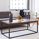 Black and Brown Wood Coffee Tables Nathan Home 31101 Doxa Solid Wood Modern Industrial Coffee Table, Black Metal Box Frame With Dark Walnut Finish