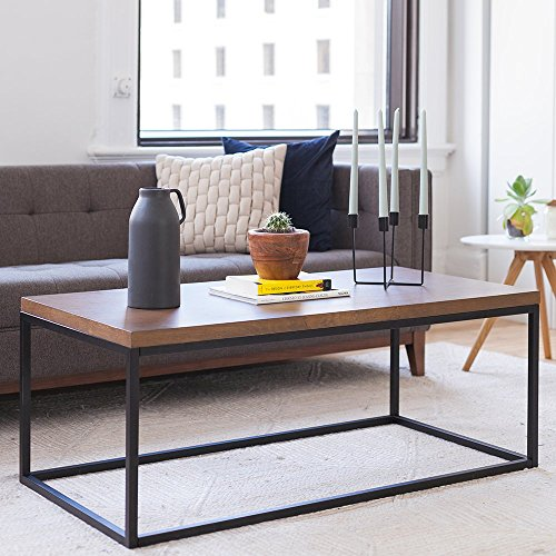 Solid Wood Coffee Table - Modern Industrial Space Saving Sofa / Couch Living Room Furniture, Metal Box Frame, Dark Walnut (Oak Top Reclaimed Table)