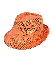 Solid Orange Color Sequins Fedora Hat