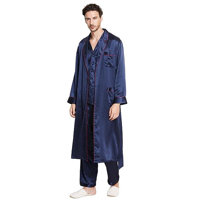 Lilysilk Conjunto de Pijamas y Batas para Hombre Ribete Contraste 100% Seda de Mora Natural
