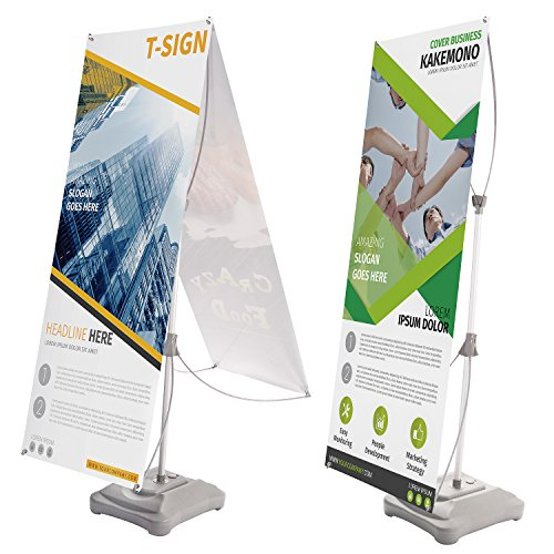 "T-Sign Water Filling Base Tripod X Banner Stand, Double-Sided Adjustable Portable Outdoor Vinyl Banner Sign Holder Fits from 23""X63"" to 31""X71"" for Trade Show Display, Traveling Bag for Free"