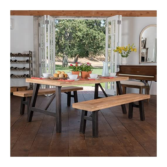 """Christopher Knight Home Cottage Acacia Wood Dining Set, Brushed Grey - Includes two (2) Benches, one (1) table Bench dimensions: 14. 25""""D x 63. 00""""W x 17. 75""""H table dimensions: 35. 00""""D x 70. 50""""W x 29. 25""""H Color: Natural Grain - kitchen-dining-room-furniture, kitchen-dining-room, dining-sets - 51q9aV8%2BXKL. SS570  -"""