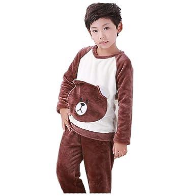 bacd321558 Kids 2 Piece Christmas Animal Flannel Plush Pajamas Set Winter Bear  Elephant Rabbit Pig Sleepwear Long