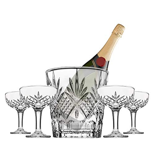 Champagne Coupe and Ice Bucket Cocktail Glasses Set - Dublin Barware Mixology -