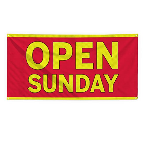 Open Sunday #2 Outdoor Fence Sign Vinyl Windproof Mesh Banner With Grommets - 2ftx3ft, 4 Grommets
