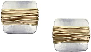 product image for Marjorie Baer Wire Wrapped Square Clip on Earring in Brass and Silver