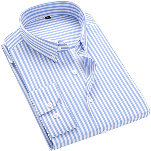 ERZTIAY Men's Classic Casual Vertical Striped Slim Fit Long Sleeve Dress Shirts Light Blue
