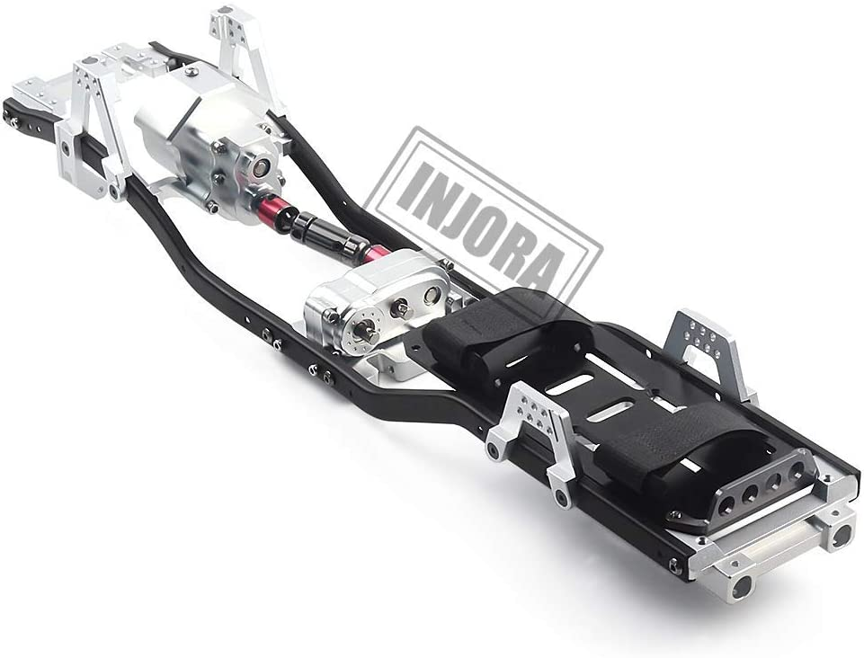 INJORA RC Marco 313mm Distancia Entre Ejes RC Frame RC Chassis with Gearbox RC Accesorios para 1:10 RC Crawler Axial SCX10 SCX10 II 90046