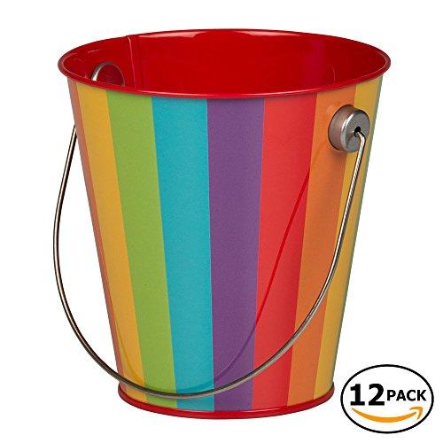 JAM Paper Colorful Metal Pails - Small - Rainbow Stripe - 12 Party Favor Buckets/Pack - Metal Mini Envelope