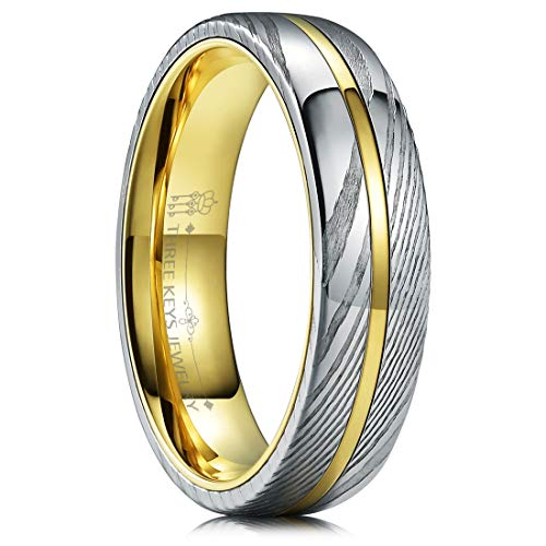 THREE KEYS JEWELRY 6mm Damascus Steel Mens Wedding Ring Domed Wood Grain Plated Gold Liner & Inlay Damascus Wedding Band Engagement Ring Size 10.5