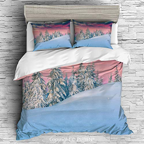 King Size Cute 3 Piece Duvet Cover Sets Bedding Set Collection [ Winter,Idyllic Scenery in Snow Covered Mountains Pine Tree Forest Majestic Sky Serenity, Comforter Cover Set for Kids Girls Boys,Incl