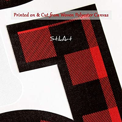 StikArt Red & Black Lumberjack Plaid Letters for Personalized Custom Name Wall Decals, Capital Letter J: Baby