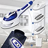 Clothes Steamer, Portable Travel Steamer for Clothes with High Capacity, Handheld Clothes Steamer with 50 Seconds Heat-Up, Fabric Steamer with Temperature Adjustable (2 Fabric Brush Included)(Blue)