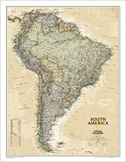 Cape Horn On South America Map.National Geographic South America Executive Wall Map 23 5 X 30 25