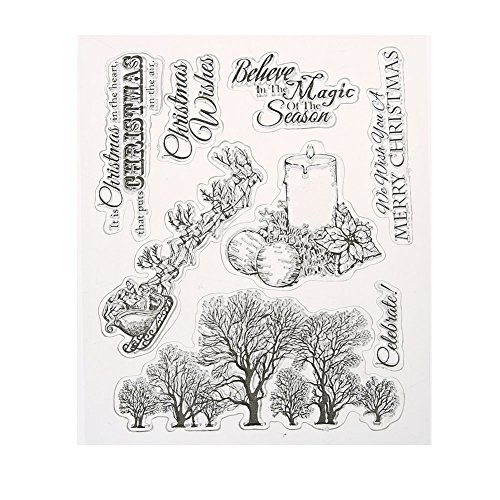 Whitelotous Clear Stamp for DIY Scrapbooking Album Paper Cards Making Decoration Christmas Wishes