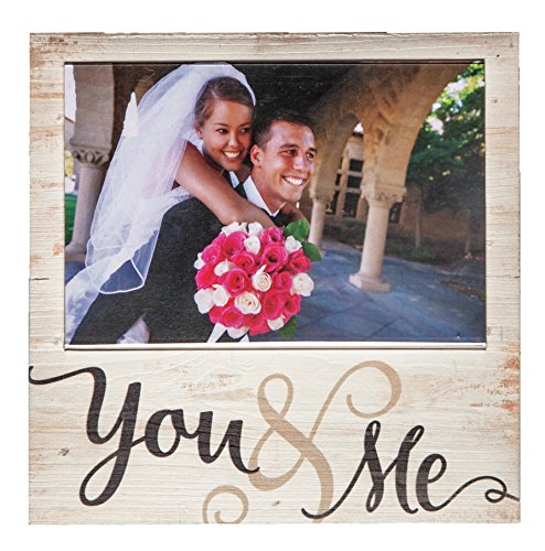 You & Me Script Natural Distressed 7 x 7 Wood Box Wall Photo Frame Plaque