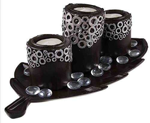 Modern Tabletop Tea Light Set - Brown and Copper - Contains 3 Tealight Holders, Glass Beads, and Leaf Shaped Tealight Tray. by Clever Creations