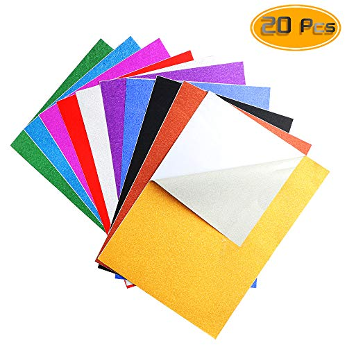 Nexxxi 10 Pack Glitter Paper Sheet Sparkles Self Adhesive Sticky for Children's Craft Activities DIY Cutters Art Assorted ()