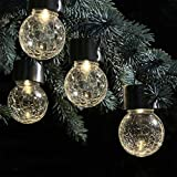 Party Decor Light,Waterproof Solar Rotatable Outdoor Garden Camping Hanging LED Round Ball Lights (4pc, Yellow)