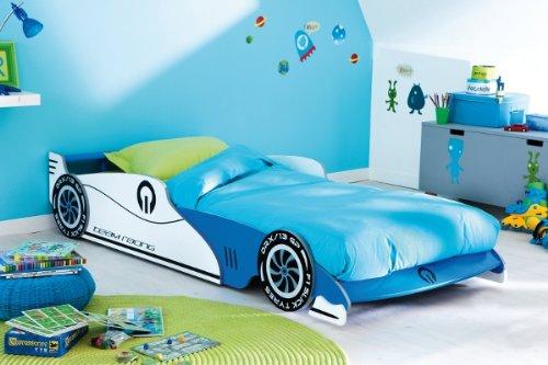 Demeyere 203893 Ausziehbares Autobett GRAND PRIX 90 x 190/200 cm, 101,5 x 40,5 x 209 cm, blau und weiß
