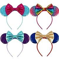 Mouse Ears Bow Headbands Glitter Mickey Rainbow Party Decoration Cosplay Costume Mermaid Minnie Ears Headband for Girls