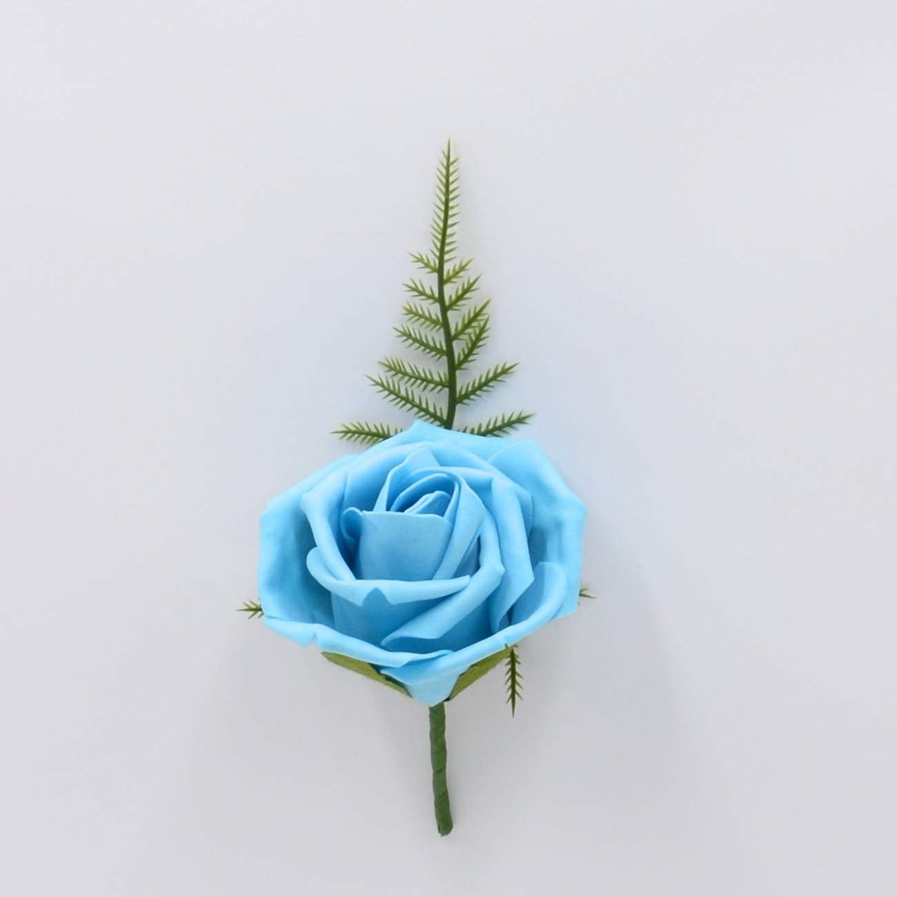Artificial Wedding Flowers Hand-Made by Petals Polly, Foam Rose Buttonhole in Aqua PETALS POLLY FLOWERS