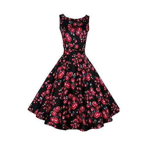 SoxontheW® Vintage 1950s Floral Spring Garden Party Evening Cocktail Dress, Red Rose, XL