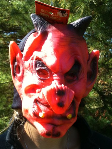 RED DEVIL Vinyl Halloween Costume HOODED Mask With EARS & HORNS (Child) ()