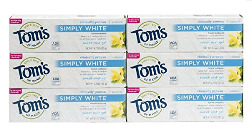 Tom's of Maine Natural Simply White Toothpaste, Sweet Mint Gel, 4.7 Ounce, Pack of 6 (Mint Toothpaste White)