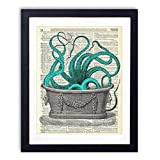 Octopus In The Tub Upcycled Wall Art Vintage Dictionary Art Print 8x10 inches / 20.32 x 25.4 cm Unframed