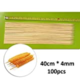 16'' x4mm Skewers for Grilling Wooden - Skewers for Fruit Kabobs - Extra Long Bamboo Skewers - Bamboo Skewers for Potato Tornado Hot Dog - Sticker for Shish Skewers - Wooden Barbecue Skewers Natural Wo