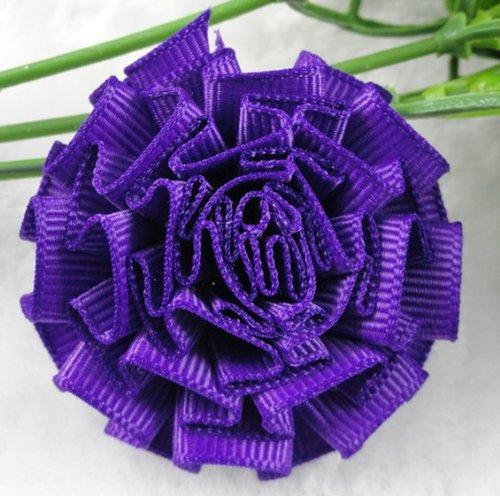 20x Mini Satin Ribbon Cabbage Flowers Wedding Decoration Appliques (Deep Purple)