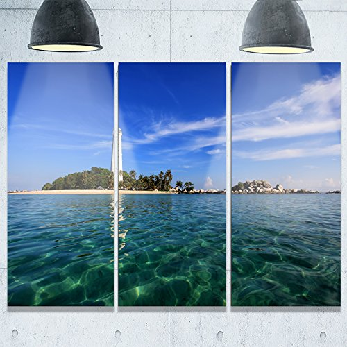 Designart MT9900-3P Lengkuas Island Indonesia Seashore Metal Wall Art (3 Piece), 36x28'' by Design Art