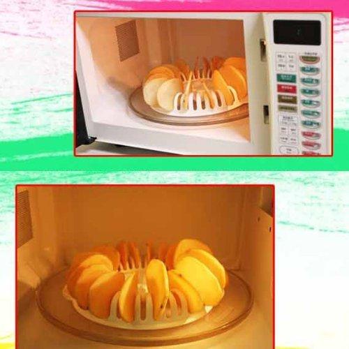 (Whitelotous Potato Chips Baking Tray Microwave Oven Fat Free Potato Chips Maker Home Baking Tool )