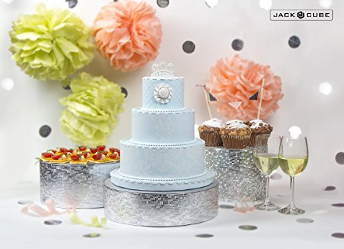 - Jack Cube Cake Stand Set of 3, Cupcake Display Supplies Tray Plate for Decorative Party(8inch, 10inch, 12inch / Silver) - MK197ABCS