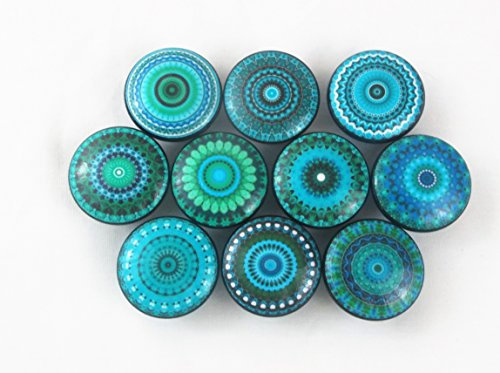 Set of 10 Turquoise Mandala on Black Knob Cabinet Knobs by Twisted R Design