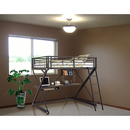 Z Bedroom Full Size Metal loft bed with computer (Powell Bedroom Computer Desk)