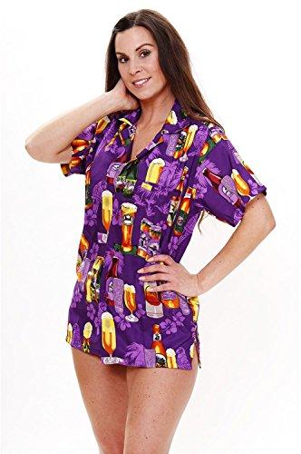 Original King Kameha | Funky Camisa Hawaiana Mujeres | XS-6XL | Manga Corta Bolsillo Delantero| impresión De Hawaii| Beer |diferentes colores morado