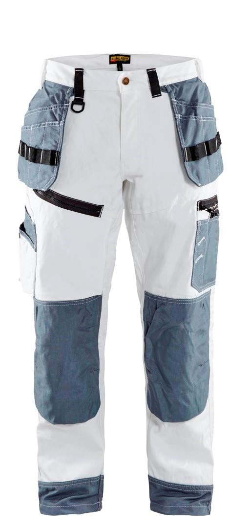 Blaklader 151012101094C44 X1500 Trousers Paint, Size 30/32, White/Grey