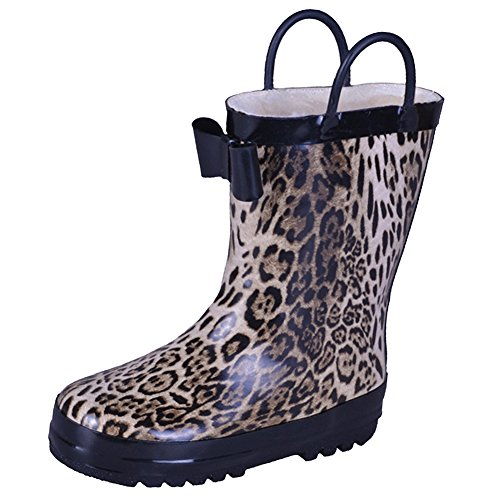 VICVIK Girl Rubber Leopard Bowknot Rain Boots Warm for Kids Cute Winter Snow Raining Shoes (Toddler 10M, Leopard)